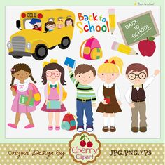 Back to school kids digital clip art set for -Personal and Commercial Use-paper crafts,card making,scrapbooking,web design