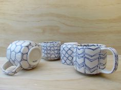 Set of Four Tea or Coffee Mugs. Shapes in by MelissaMayaPottery, $85.00