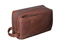 c996b4645c1 Dwellbee Premium Top Grain Leather Toiletry Bag and Dopp Kit with TSA  Approved LokSak Waterproof Bag