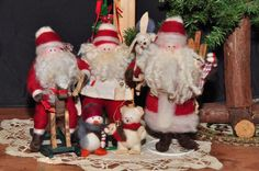 Lot of 5 Handcrafted NEEDLE FELTED WOOL 3 SANTA CLAUS Figures,  Penguin & Bear