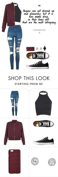"""Untitled #94"" by thesparklegirls ❤ liked on Polyvore featuring Topshop, New Look, Converse, Dagmar and Olivia Burton"