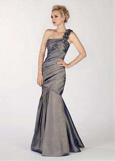 Stylish Taffeta One Shoulder Neckline full length Mermaid Mother of the Bride Dress with Handmade Flower Decoration