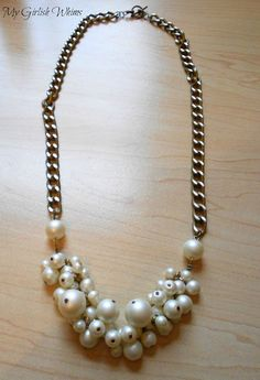 My Girlish Whims: DIY Pearl Cluster Chain Necklace. So trendy and fun..try it yourself. Visit us at www.fizzypops.com.