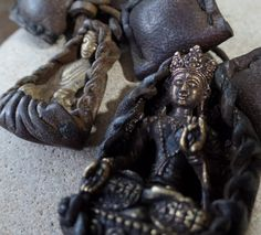 Vintage Buddha Leather and Brass Amulets Sold by AquaTerraBazaar