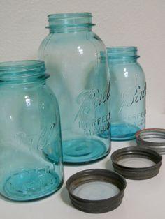 Antique Aqua Blue Ball Mason Jars with Zinc Lids Half Gallon and Quart Canister Set
