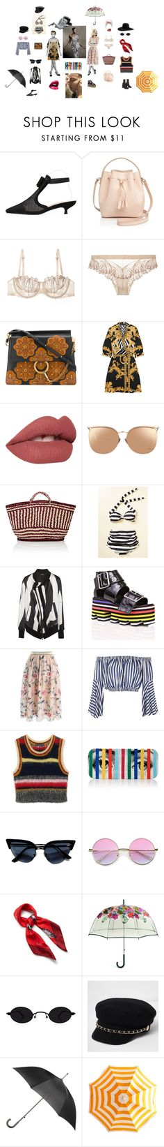 """Stripes strike a pose !"" by peipoufanm ❤ liked on Polyvore featuring Céline Lefébure, Triumph, Chloé, Versace, Lime Crime, Linda Farrow, Soeur, Esther Williams, Ann Demeulemeester and Current Mood"