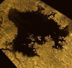 Vast Ligeia Mare in False Color RADAR (NASA Cassini Saturn Mission Image)