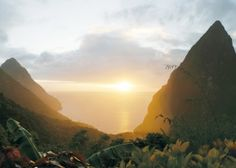 St Lucia - Ladera: Around feet above the Caribbean Sea, Ladera overlooks the famed Piton Mountains. Caribbean Resort, Caribbean Vacations, Caribbean Sea, Dream Vacations, Honeymoon Getaways, Honeymoon Ideas, Vacation Ideas, Places To Travel, Places To See