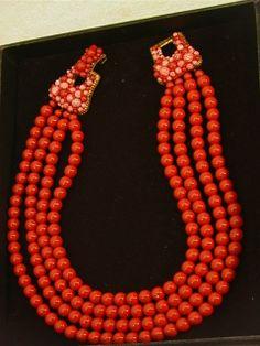 1204: COPPOLA TOPPO Italian Coral Glass Bead Necklace 4 : Lot 1204
