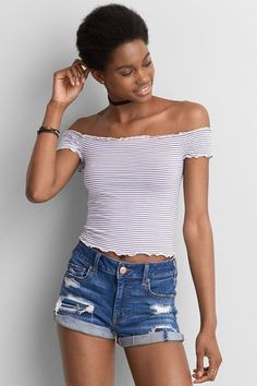 American Eagle Outfitters AE Lettuce Edge Off-The-Shoulder T-Shirt