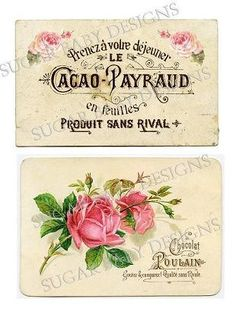 ❥ Pink Roses Vintage Chocolate Labels