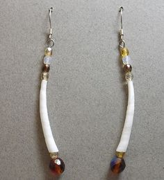 Earrings - Dentalium Shell and Czech Glass Beads by Larita Laktonen (Alutiiq)