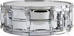 Model: Ludwig Supraphonic snare drum Year: 1963 to present Description: Current model is U. made and has a spun aluminum seamless shell with chrome plating, imperial lugs, and a throw off. Prices as of Current Retail Price: N