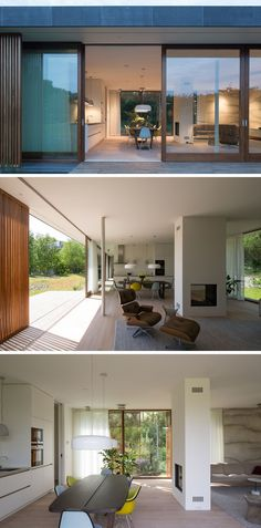 In this modern house, the living room and dining / kitchen area are separated by the use of a double-sided fireplace. #Fireplace #OpenPlanInterior #InteriorDesign #ModernHouseInterior #DoubleSidedFireplace
