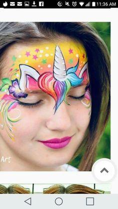 Unicorn Face Paint Design - Famous Last Words Peacock Face Painting, Face Painting Unicorn, Girl Face Painting, Face Painting Designs, Horse Face Paint, Clown Face Paint, Face Paint Makeup, Animal Face Paintings, Art Visage