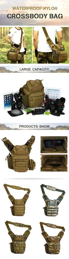 US$37.70 Waterproof Nylon Camera Bag Outdoor Multi-functional Tactical Package Shoulder Crossbody Bag For Men
