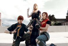 Cosplaying Resident Evil Code: Veronica at Otakon.  Me ( #CarlottaRose #TheQueenAnt ) as Alexia Ashford #HopeHavoc as Claire Redfield  #ResidentEvil #ResidentEvilCodeVeronica #Cosplay #Capcom