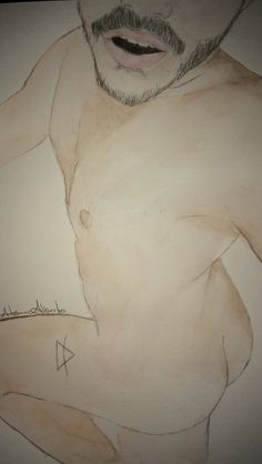 Male Nude Watercolour Painting