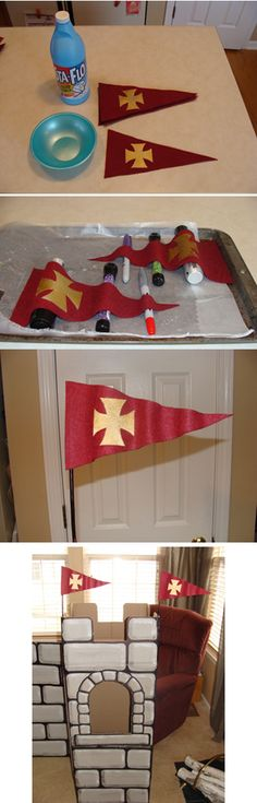 Cut out felt flags (), dip in liquid starch, lightly squeeze out excess, lay… Vbs Crafts, Crafts For Kids, Arts And Crafts, Chateau Moyen Age, Castle Party, Medieval Party, Knight Party, Anniversaire Harry Potter, Dragon Party