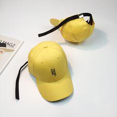 HT1032 New Yellow Snapback Caps Embroidery Letters Korea Style Hip Hop Caps for Men Long Strap Women Men Baseball Caps