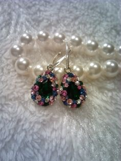 Emerald and multicolor Swarovski crystals sterling silver earrings.