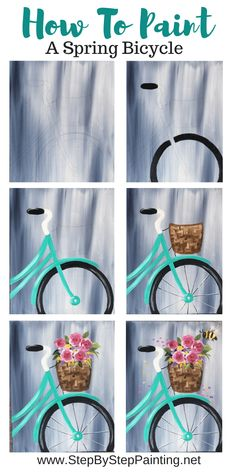 Spring Bicycle Painting - Step By Step Painting Learn how to paint a bicycle on canvas with flowers and a gray wash background. This is an easy step by step canvas painting tutorial with a traceable. art painting Bicycle Painting On Canvas Simple Canvas Paintings, Easy Canvas Painting, Spring Painting, Diy Canvas Art, Diy Painting, Watercolor Paintings, Acrylic Canvas, Canvas Ideas, How To Paint Canvas