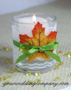 Fall votive candle decoration.