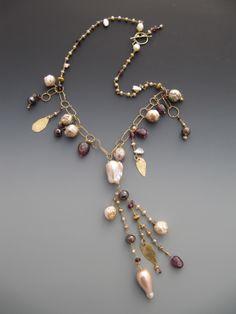 18 karat gold, diamonds, keshie and baroque fresh water pearls, tourmaline LuciaAntonelli.com