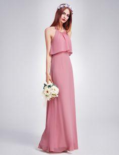 00710413174 Ever-pretty - Ever-Pretty Women s Elegant Halter Long Maxi Bridesmaid Wedding  Party Summer Casual Dresses for Women 07129 US 4 - Walmart.com