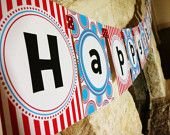 Dr. Seuss Happy Birthday Banner PLUS bonus 12 favor tags by Modern Bebe Designs