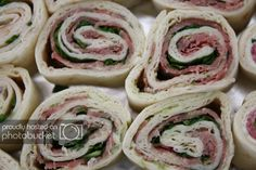 These easy Italian Pinwheels are loaded with ham, salami, pepperoni, and cheese. It's my favorite easy lunch recipe and one that you will want to try. Salami And Cheese, Lunch Wraps, Potluck Dishes, Wrap Sandwiches, Pinwheels, Fresh Rolls, Lunch Recipes, Tapas, Food And Drink