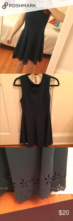 """Semi formal Forest Green Dress Only worn once, this dress has a thick stretchy material with laser cut detailing on the scalloped hem. I'm unfamiliar with the brand """"painted threads"""" but it was purchased from Nordstrom Nordstrom Dresses"""