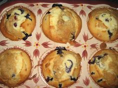 Blueberry/Lemon MUFFINS. Made in a Temp-tations Stoneware Muffin pan. Love it.for recipe http://myislandkitchen.com