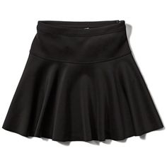Abercrombie & Fitch Neoprene Drop Yoke Skater Skirt ($34) ❤ liked on Polyvore featuring skirts, black, black stretch skirt, stretch skirt, flared skirt, black neoprene skirt and black stretchy skirt