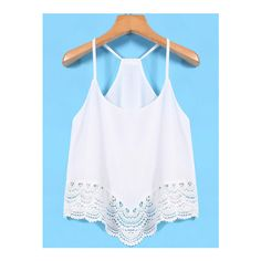 SheIn(sheinside) Spaghetti Strap Lace White Cami Top (18 NZD) ❤ liked on Polyvore featuring tops, white, white lace camisole, white lace top, lace tank, white cami and white lace tank top