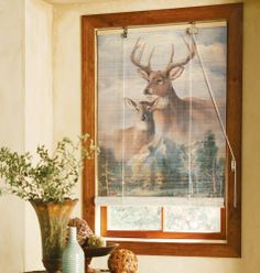 """Deer In Wilderness Pattern Bamboo Curtain Blinds 25"""" X 40"""" By Collections Etc by Collections. $11.99. It s like a mural for your window! This eco-friendly bamboo blind features a family of deer in their natural wilderness habitat. Raises and lowers with pull cord. Mounting hardware included. Available in two sizes."""