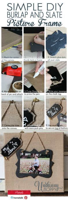 Simple Burlap and Slate Picture Frame by Unskinny Boppy