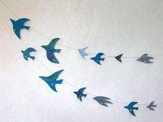 水晶と青い鳥のガーランド