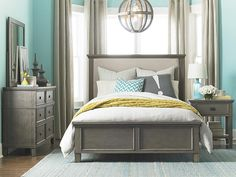 The Brentwood Upholstered Bed by Bassett Furniture is available in Queen, King, and Cal King. Featured in a Driftwood finish that works perfectly with brighter accents of color in your bedroom. Furniture Direct, Dining Room Furniture, New Furniture, Home Decor Bedroom, Master Bedroom, Master Suite, Bedroom Ideas, Hillsdale Furniture, Upholstered Beds