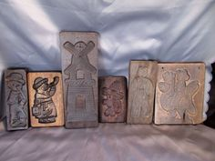Antique Vintage Dutch Hand Carved Speculaas Cookie Mold Wooden Lot 6 Springerle