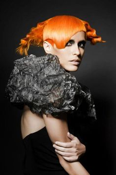 Bright orange #bright #hair #neon #style