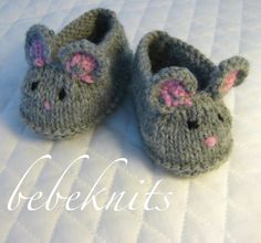 Knitting Pattern for Mouse Baby Booties - Mice Baby Slippers knitting pattern for sizes 0-3 and 3-6 months.