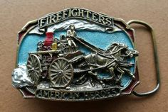 Vintage Great American Products Pewter Belt Buckle. Firefighters American Heroes.Vintage American Firefighters Belt Buckle Pewter And Enamel by OnyxCollectables on Etsy