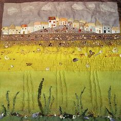 LOVE STITCHING RED: Elements of St. Ives - Art Quilt. Interesting techniques by Carolyn Saxby.