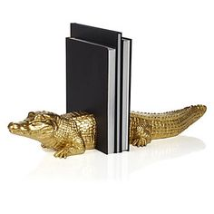 Lend a unique addition to your library collection with our bright shiny Alligator bookends.  #ZGallerie  #Alligator  #Bookends
