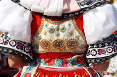 Detail of Moravian folk costume in Dubnany, Czech Republic