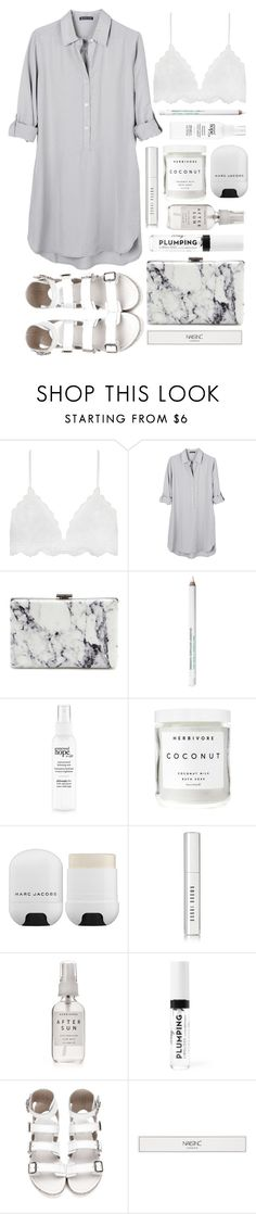 """Gray scale"" by brynhawbaker ❤ liked on Polyvore featuring United by Blue, Balenciaga, Obsessive Compulsive Cosmetics, Herbivore, Marc Jacobs, Bobbi Brown Cosmetics and Nails Inc."