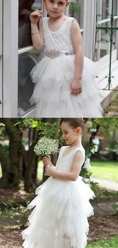 69afe3649 A-Line Scoop Neckline Sleeveless Beaded Tulle Flower Girl Dresses With  Lace,FG109