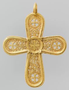 ~Gold Cross Pendant. Date: A.D. 500–700 Culture: Byzantine Medium: Gold