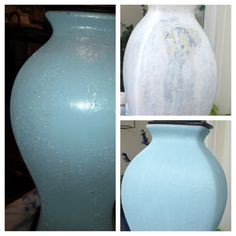 Old yellow-blue ceramic lamp. Refurbished with acrylic paint, sandpaper, and glaze.